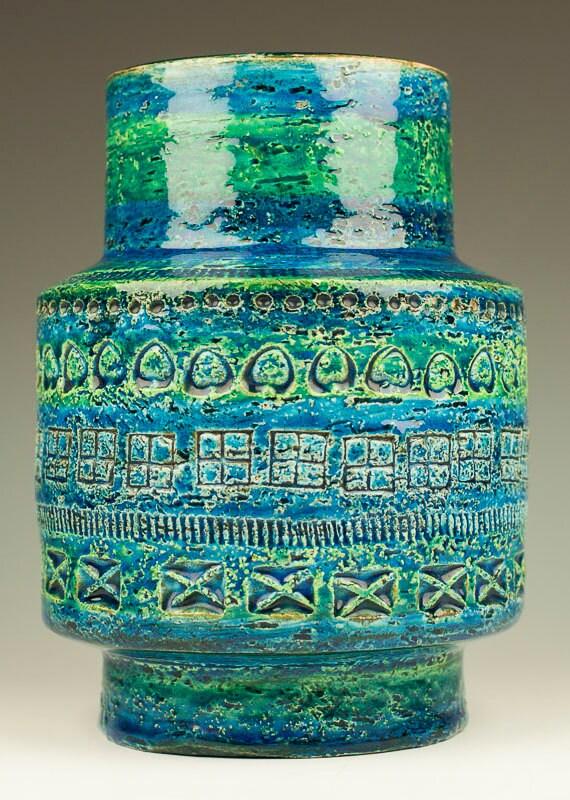 Aldo Londi For Bitossi Rimini Blue Vase Raymor