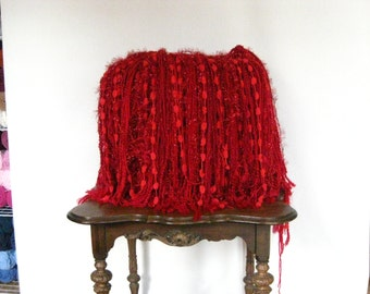 Fringe Blanket Photo Prop Baby blanket Knit Crochet Photography Red Basket stuffer Fluff Christmas