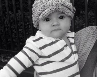 Crochet  Baby Hat Newsboy Grey tweed visor brim photo prop infant child