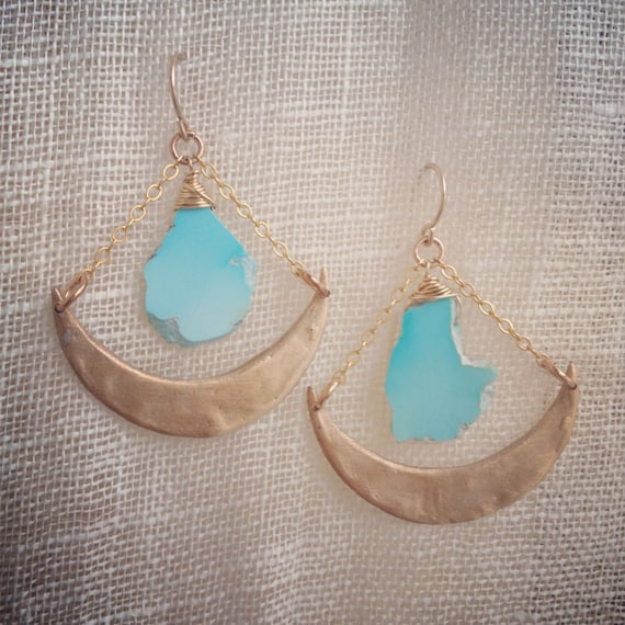 Bronze and Sleeping Beauty Turquoise Pieces of Sky Earrings