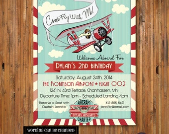 Airplane Birthday Invitation - Come Fly With Me - 2nd, 3rd, 4th, 5th, 6th, 7th, 8th, 9th birthday for boys -Item 0138 - DIGITAL FILES