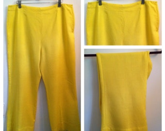 vintage cropped flare leg pants / buttercup yellow