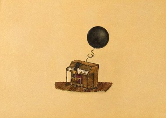 Art Print. Girl Piano Blue Moon. Nothing unusual, nothing strange