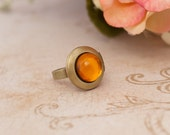 CLAIRE Outlander Inspired Brass Locket Ring Amber Gold Dragonfly in Amber Storybook Collection