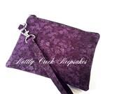 iPhone Wristlet Wallet Clutch Purse / Zippered Wristlet Bag / Cell Phone Wristlet / Purple and Black with Black Cotton Lining