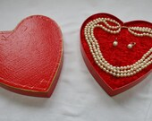 Vintage 1950s Heart Shaped Faux Pearl Necklace & Earring Set, Mint Condition, Super Cute!