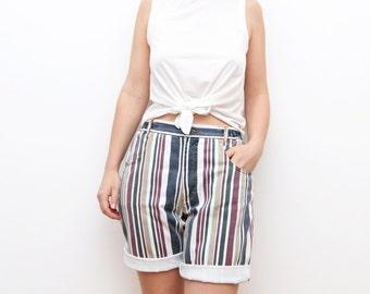 Vintage high waist women striped 90s denim shorts