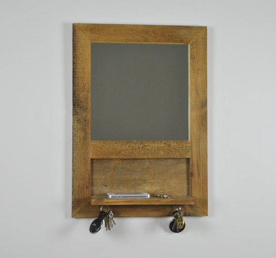Reclaimed wood entryway mirror shelf by fmcdesign on etsy for Hallway mirror and shelf