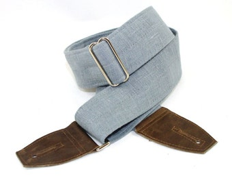 Guitar Strap in Silver Grey Linen - Heavily Textured  with Leather Ends