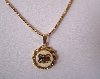Vintage 1974 Hand Painted  American Eagle Insignia Pendant   10 k Yellow Gold  Chain