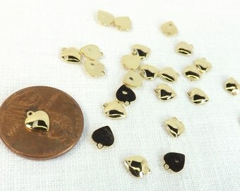 Heart Charms 25 pieces Tiny Puffed 5mmx5mm Gold Plated Scrapbooking Supply Jewelry Supply