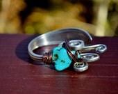 OOAK Fork bracelet - Brass or copper wire wrapped with Turquoise or quartz - Vintage upcycled fork - Gemstone fork bracelet