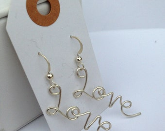 Love Letter Earrings - Solid Sterling Silver - Hand Formed