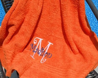 "30"" x 54 Monogram Towels, Monogram Bath Towels, Personalized Towels, Monogram Towels, Embroidered Towels, Bath Towels, Beach Towels"