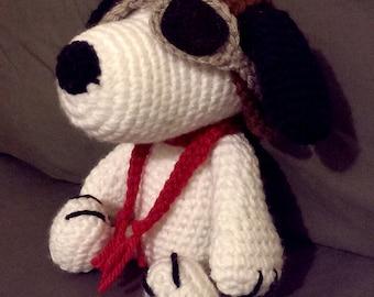 Custom Crochet Peanut's - Red Baron Pilot Snoopy Amigurumi