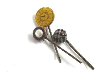 Steampunk Hair Pins Up-cycled Buttons Watch Face Wool Plaid Pearl