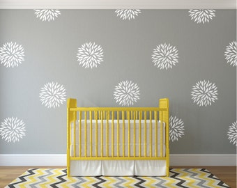 Vinyl wall decal flower blooms - White wall decal pattern flowers nursery decals