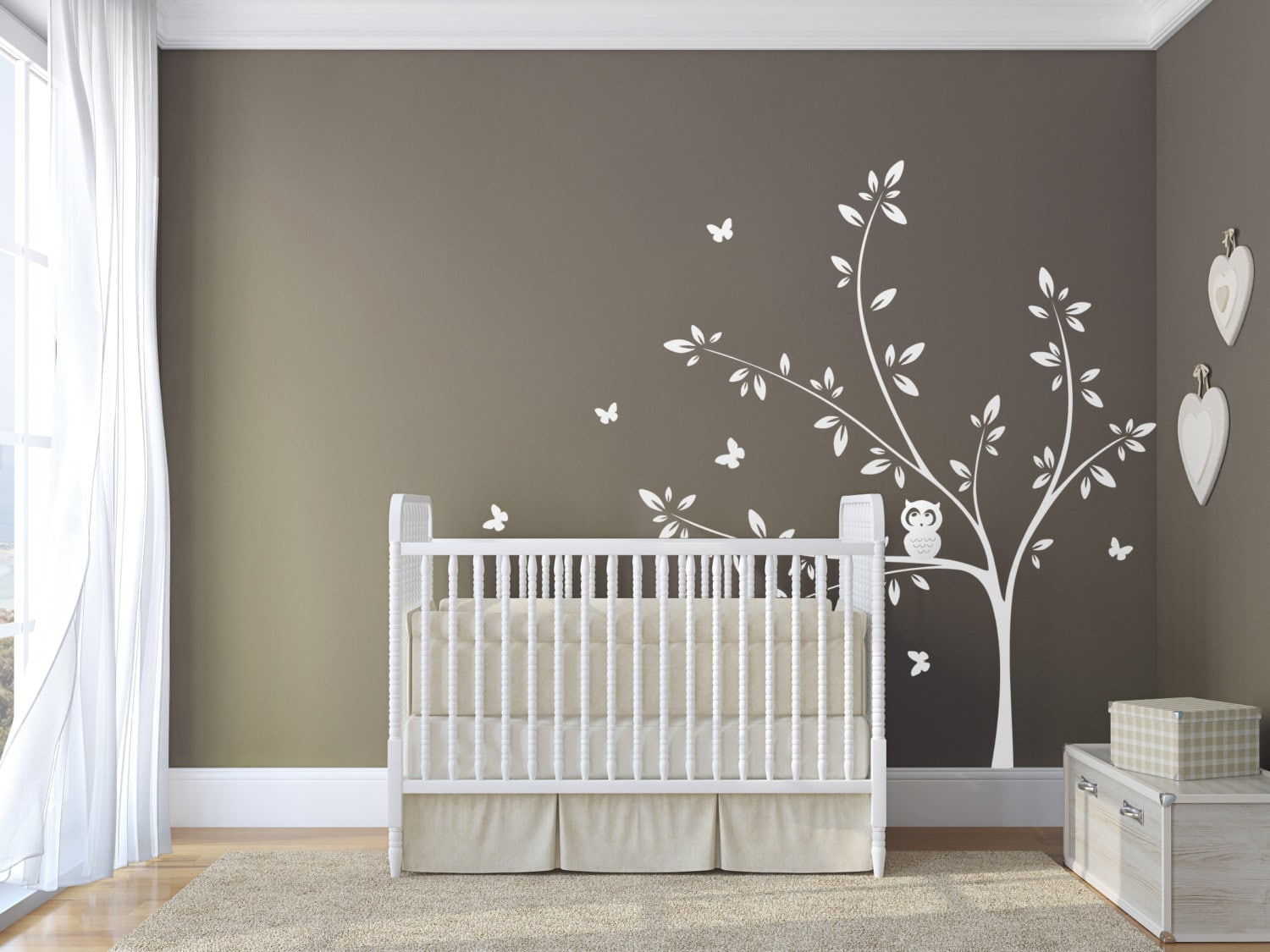 White tree wall decal with cute owl and butterflies extended for Deco chambre bebe mansardee 2