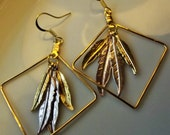 Earrings Handmade Unique Tribal Ethnic Gypsy Boho Gold and Silver Feathers in Geometric Frame Original Designer Mixed Metal Day to Evening