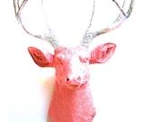 Faux Taxidermy Deer Head wall mount in salmon and silver: Deerman the Deer Head