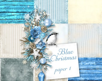 Blue Christmas Paper set 1 ONLY - Digital Scrapbooking