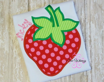 Strawberry Applique Shirt- Strawberry Embroidered Shirt- Girl Summer Shirt- Monogrammed Strawberry shirt- Custom Girl Shirt- Strawberry