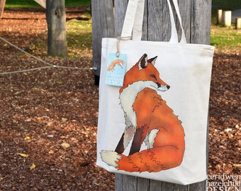 Fox Tote Bag, Ethically Produced Reusable Shopper Bag, Cotton Tote, Shopping Bag, Eco Tote Bag, Reusable Grocery Bag