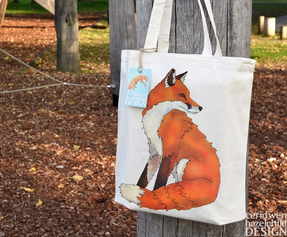 Fox Tote Bag, Ethically Produced Reusable Shopper Bag, Cotton Tote, Shopping Bag, Eco Tote Bag, Reusable Grocery Bag