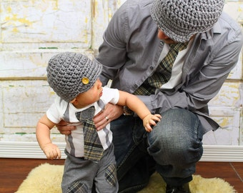 Baby Boy Tie and Suspenders Dad & Baby Boy Set. Father Son.  Plaid Tie, Tan and Grey,  Baby's 1st Holiday Coming Home, Father and Son