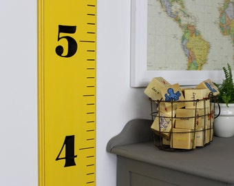 Carved Wooden Ruler Growth Chart for Children - Lightly Distressed