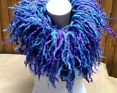 Peacock Fringe Felted Wool Boa Scarf Blue Orchid Purple HandMade OOK Ready to Ship