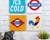 Your Choice 4 Wood Sign Set, 8 x 8 inches, Decoration Wood Painted, Wall Hanging , FREE SHIPPING