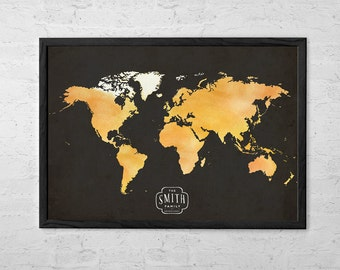 World Map Custom - Family Established Sign - Personalized Family Names - Art Print Poster - Wall Hanging - Gift Idea - Large - Medium Size