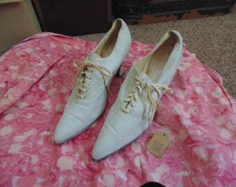 Antique Edwardian Stacked Heel Lace Up Shoes