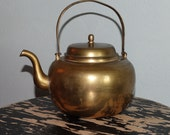 Vintage Solid Brass Teapot Kettle Made in Korea Accent Piece Doorstop Bookend