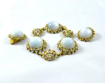 1950s Vintage Charel Pale Blue Enamel and Moonstone Bracelet and Clip Earring Set - signed