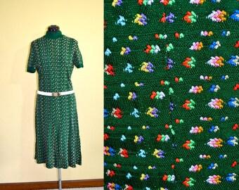 1960s Vintage A Leslie Fay Original Green Knit Accent A-Line Dress size M bust 36