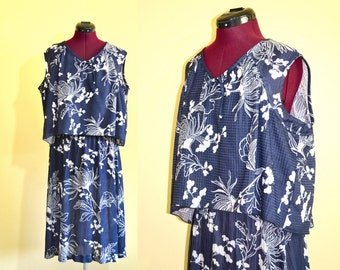 1970s Vintage Plus Size Montgomery Ward Blue and White Day Dress size L XL bust 42
