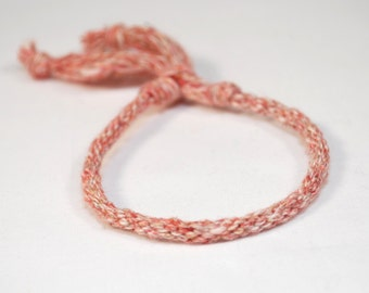 Eco Friendly Bracelet Red Natural Cotton & Hemp Kumihimo Red Speckled Fiber Jewelry