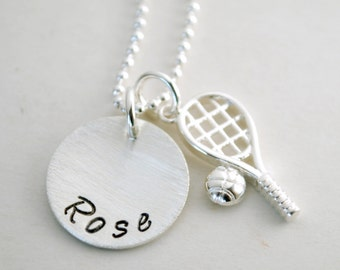 Tennis Necklace with Personalized Name - Custom Tennis Jewelry Hand Stamped Sterling Silver