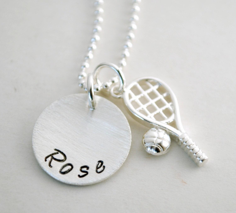 Tennis Charm Bracelet: Tennis Necklace With Personalized Name Custom Tennis Jewelry
