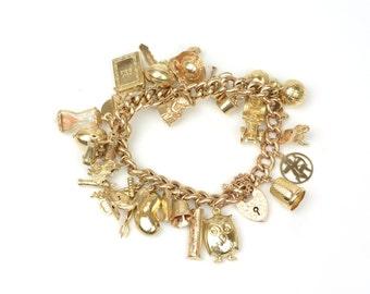 Antique Bracelet - Antique 1920s Rose Gold Charm Bracelet