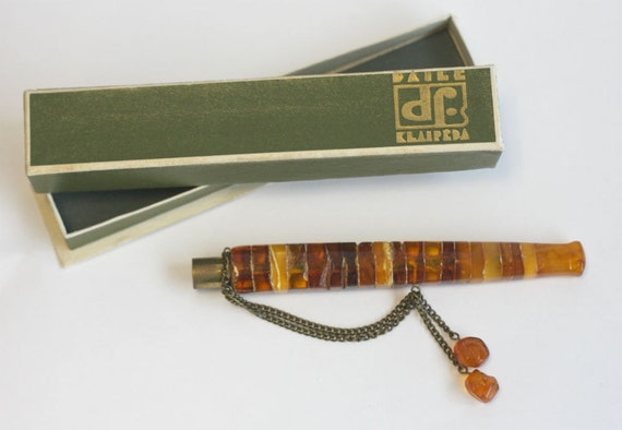 Vintage Baltic Amber Cigarette Holder with Box
