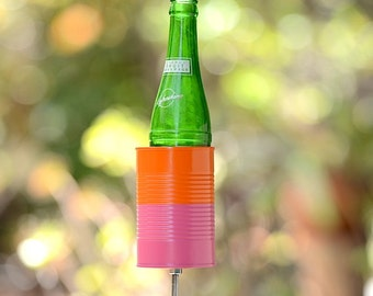 Two Tone Hobo Tin Can Drink Holder/ Garden Beer Holder- Popsicle Pink + Orange