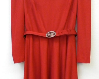 Vintage 70s Red Elegant Draped Back Midi Classic Long Sleeve Party Holiday S Small Frock Dress