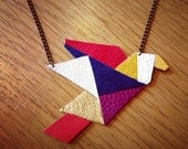 Geometric necklace - origami bird design pendant in blue, red, magenta, gold and white leather and suede - handmade jewellery by DustyDoes