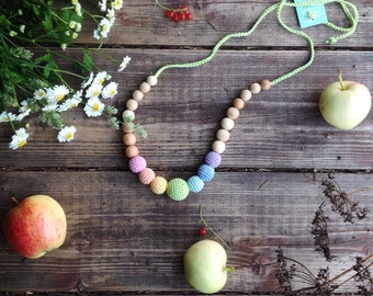 Pastel Neutral ainbow nursing babywearing necklace - teething necklace for breastfeeding mom gift under 25