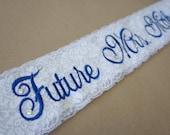 Navy and White Lace Bridal Sash - Customizable Rhinestone Bride to Be Sash - White and Navy Sash