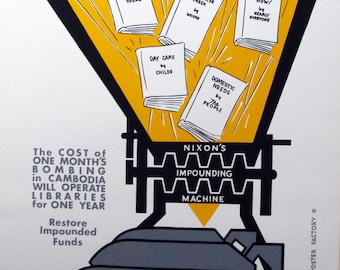 Vintage Anti-War Nixon FROM BOOKS to BOMBS Silk Screen Poster of Nixon Policies Great Vintage Anti-War Statement and Graphic