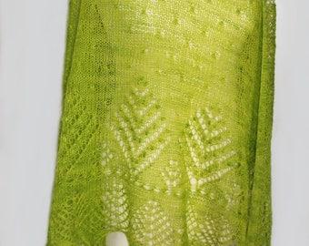 Hand knitted triangular lace shawl with Haapsalu shawl pattern